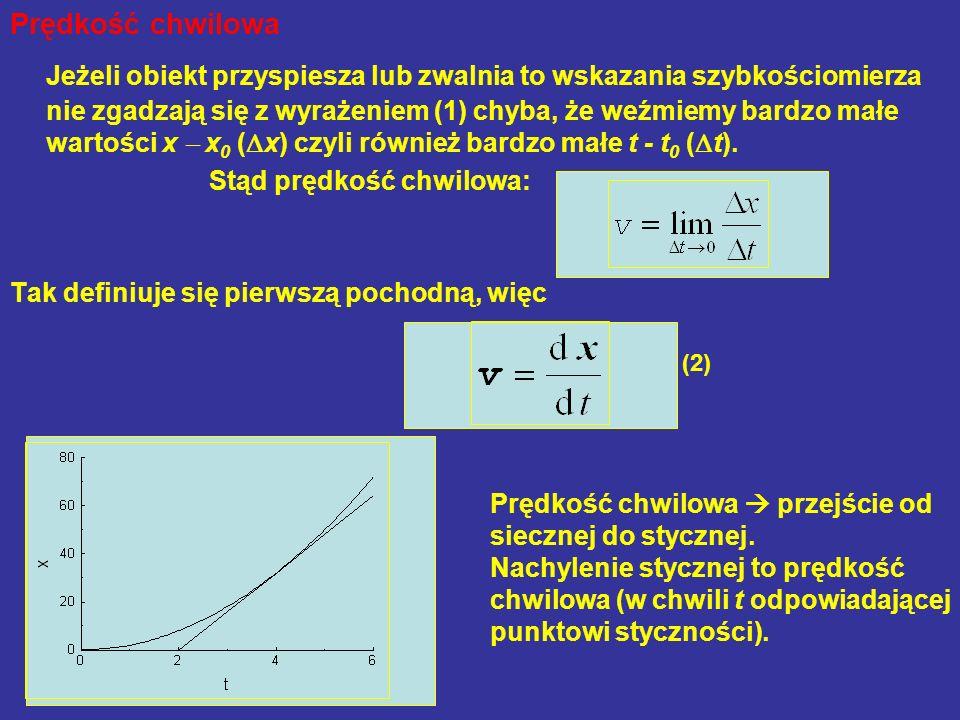 Prędkość chwilowa Jeżeli obiekt przyspiesza lub zwalnia to wskazania szybkościomierza nie zgadzają się z wyrażeniem (1) chyba, że weźmiemy bardzo małe