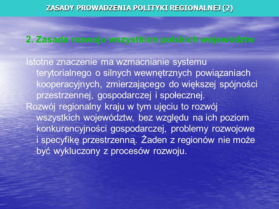 2. Zasada rozwoju wszystkich polskich województw Istotne znaczenie ma wzmacnianie systemu terytorialnego o silnych wewnętrznych powiązaniach kooperacy