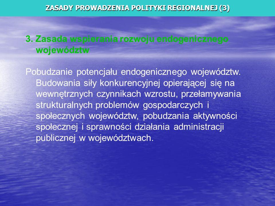 3. Zasada wspierania rozwoju endogenicznego województw Pobudzanie potencjału endogenicznego województw. Budowania siły konkurencyjnej opierającej się