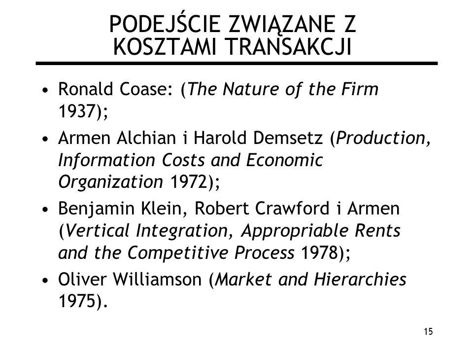 15 PODEJŚCIE ZWIĄZANE Z KOSZTAMI TRANSAKCJI Ronald Coase: (The Nature of the Firm 1937); Armen Alchian i Harold Demsetz (Production, Information Costs