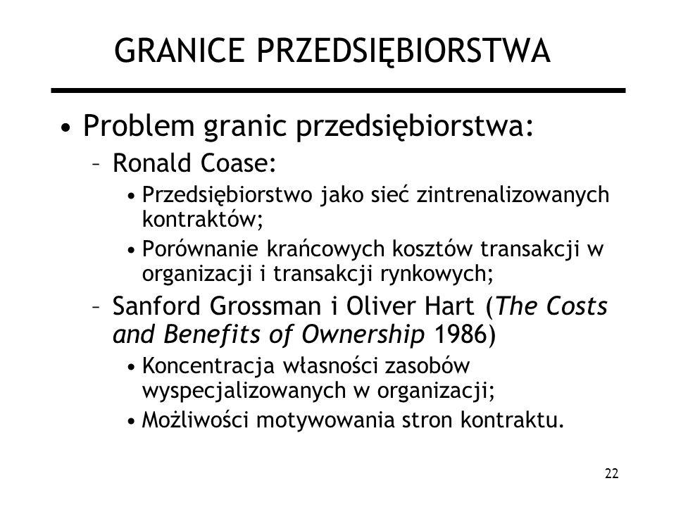 22 GRANICE PRZEDSIĘBIORSTWA Problem granic przedsiębiorstwa: –Ronald Coase: Przedsiębiorstwo jako sieć zintrenalizowanych kontraktów; Porównanie krańc