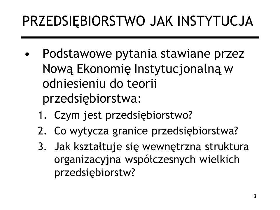 3 PRZEDSIĘBIORSTWO JAK INSTYTUCJA Podstawowe pytania stawiane przez Nową Ekonomię Instytucjonalną w odniesieniu do teorii przedsiębiorstwa: 1.Czym jes