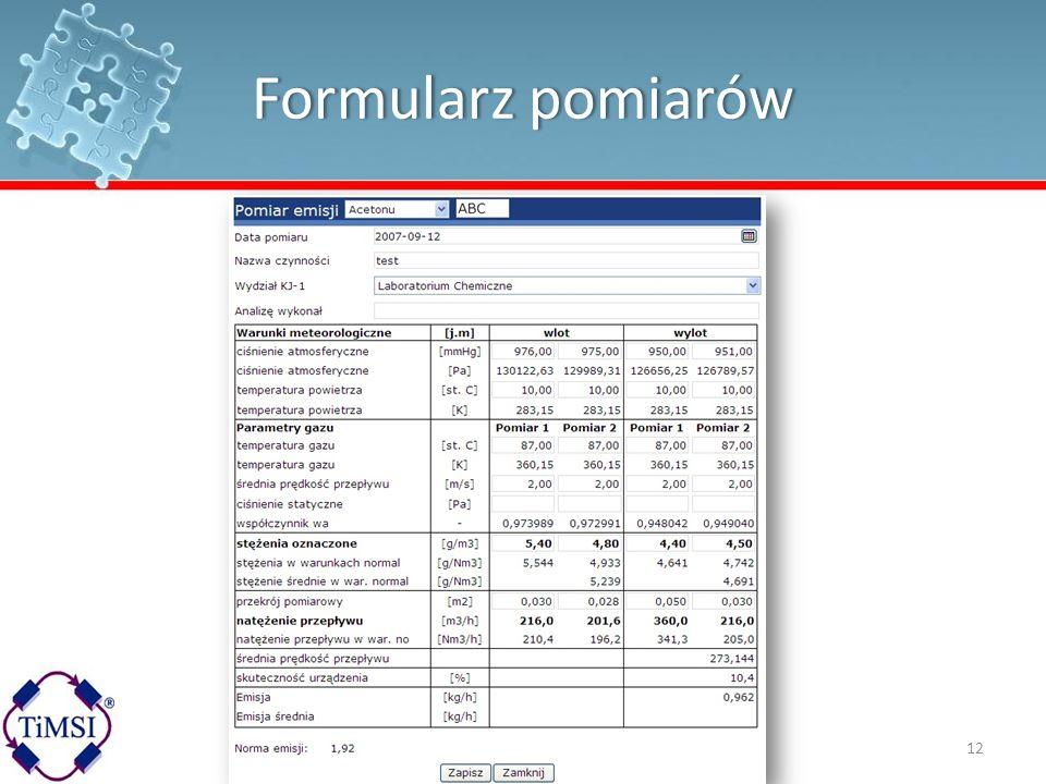 Formularz pomiarówFormularz pomiarów 12