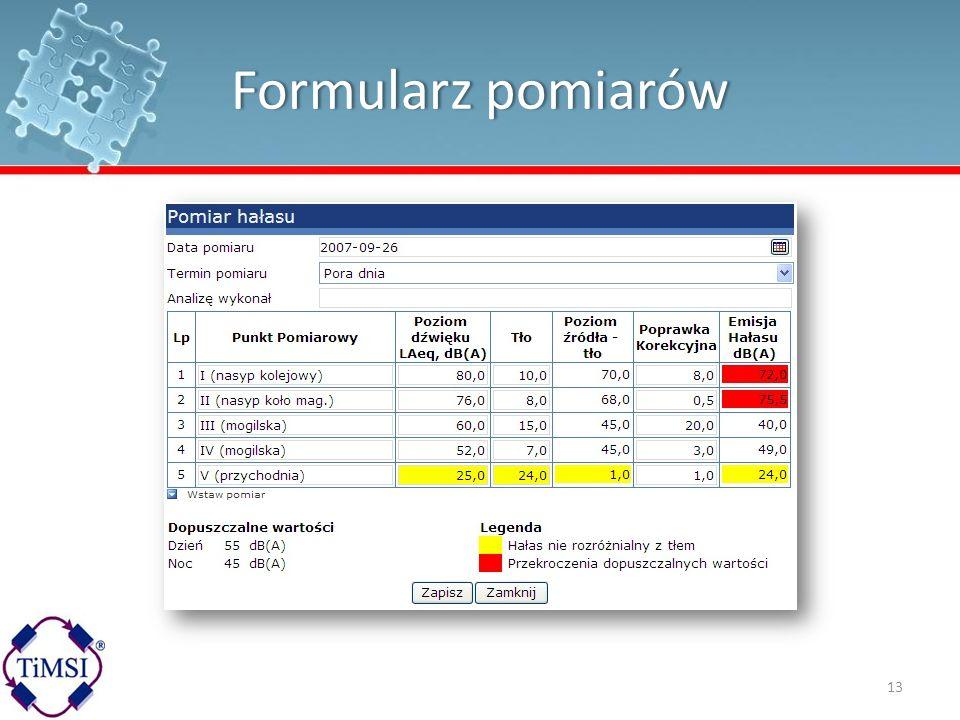 Formularz pomiarówFormularz pomiarów 13