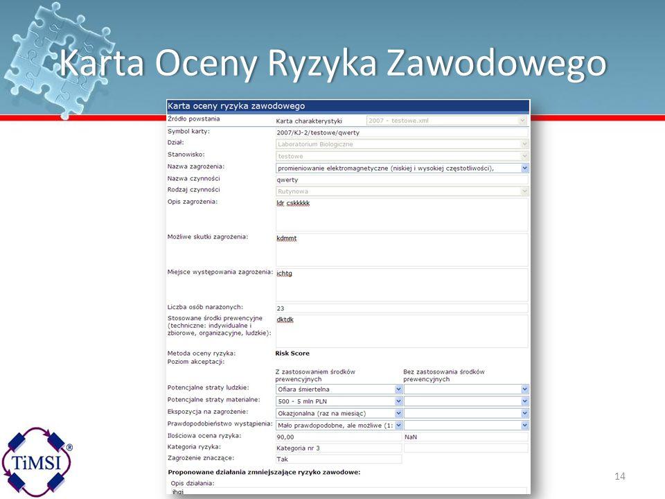 Karta Oceny Ryzyka ZawodowegoKarta Oceny Ryzyka Zawodowego 14