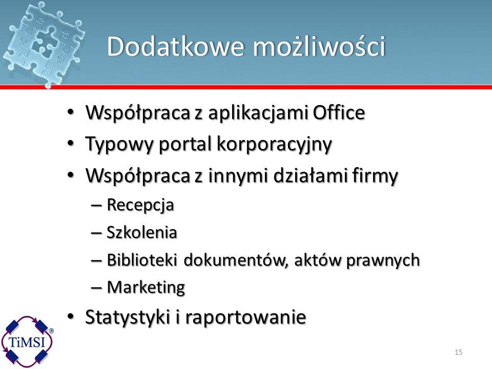 Dodatkowe możliwościDodatkowe możliwości Współpraca z aplikacjami Office Współpraca z aplikacjami Office Typowy portal korporacyjny Typowy portal korp