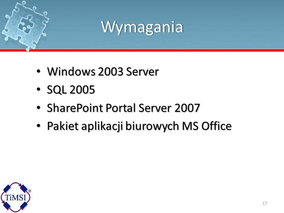 Wymagania Windows 2003 Server Windows 2003 Server SQL 2005 SQL 2005 SharePoint Portal Server 2007 SharePoint Portal Server 2007 Pakiet aplikacji biuro