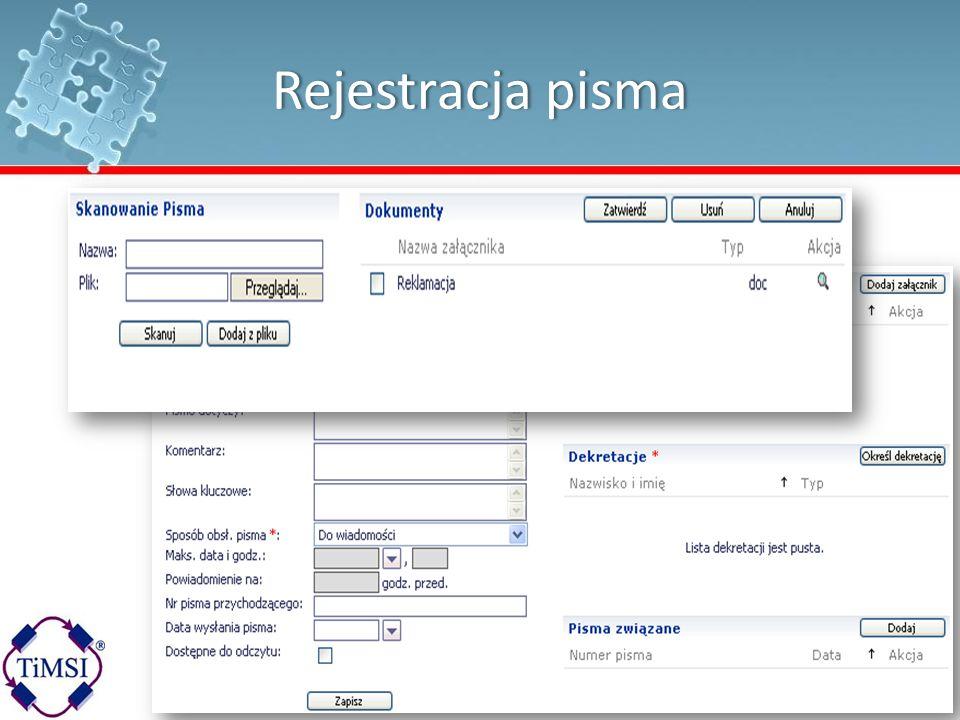 Rejestracja pismaRejestracja pisma