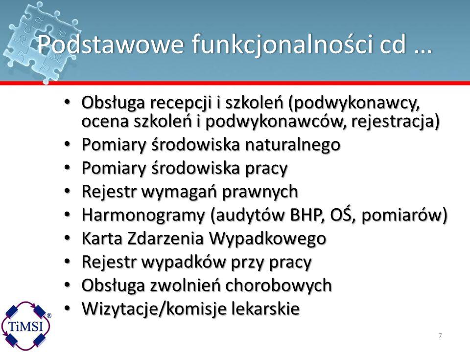 Podstawowe funkcjonalności cd …Podstawowe funkcjonalności cd … Obsługa recepcji i szkoleń (podwykonawcy, ocena szkoleń i podwykonawców, rejestracja) O