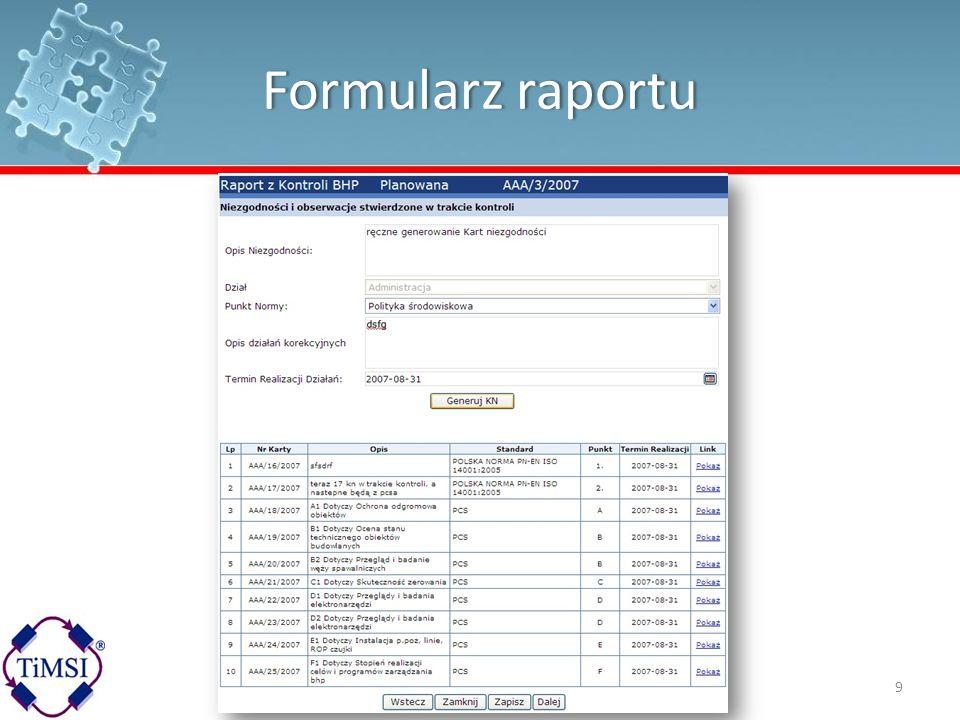 Formularz raportuFormularz raportu 9