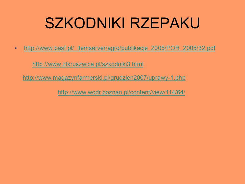 SZKODNIKI RZEPAKU http://www.basf.pl/_itemserver/agro/publikacje_2005/POR_2005/32.pdf http://www.ztkruszwica.pl/szkodniki3.html http://www.magazynfarm