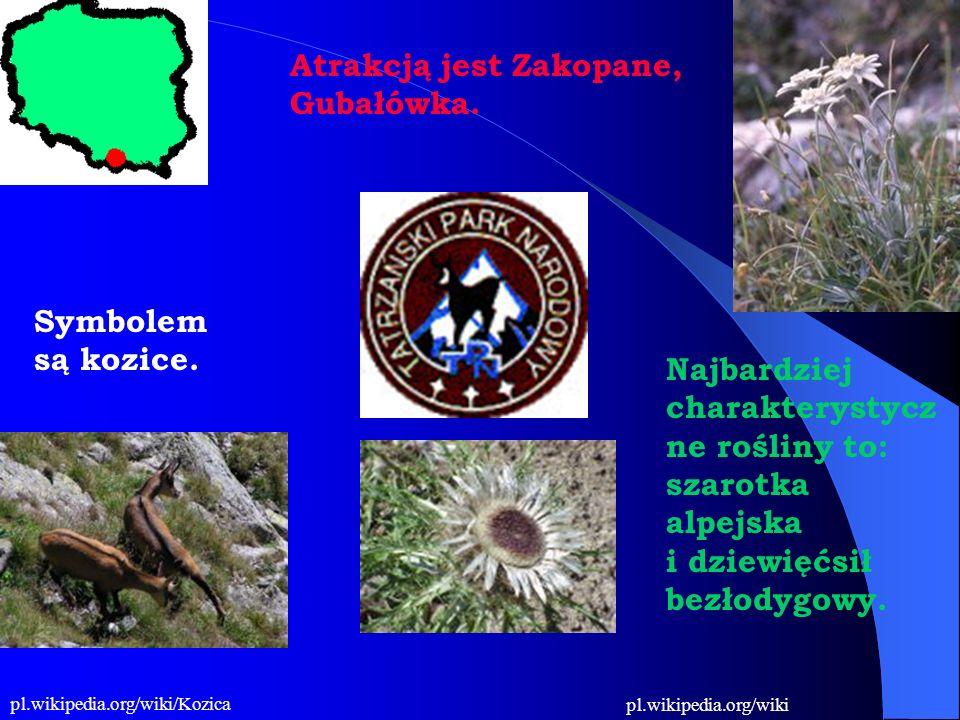 Symbolem są kozice. Najbardziej charakterystycz ne rośliny to: szarotka alpejska i dziewięćsił bezłodygowy. Atrakcją jest Zakopane, Gubałówka. pl.wiki