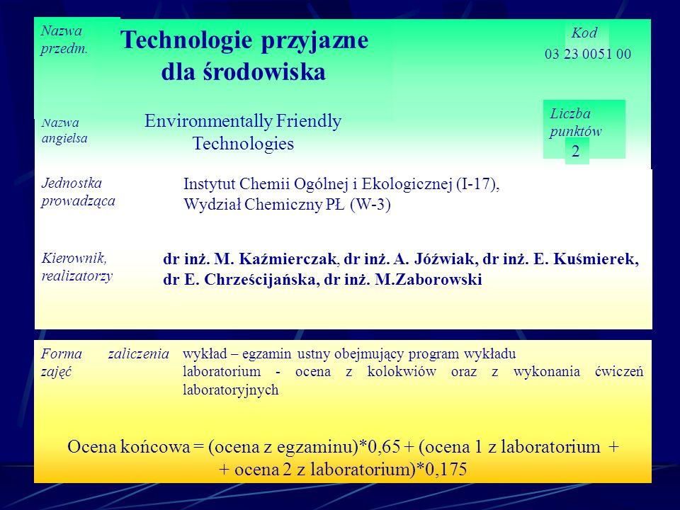 Nazwa angielsa Nazwa przedm. Technologie przyjazne dla środowiska Kod Liczba punktów 2 Jednostka prowadząca Instytut Chemii Ogólnej i Ekologicznej (I-