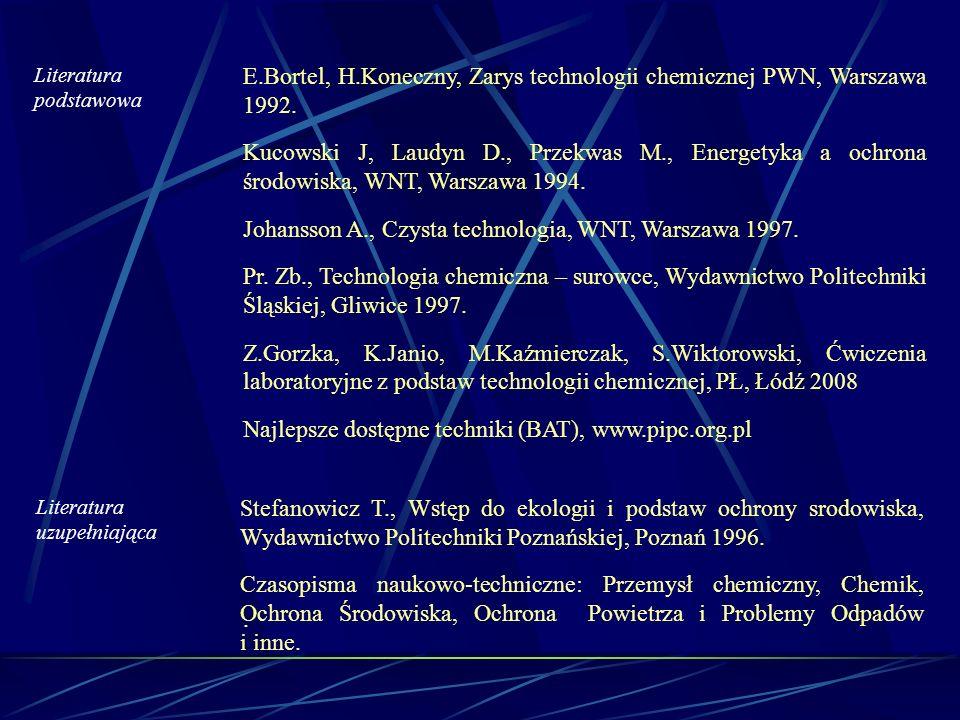 Literatura podstawowa E.Bortel, H.Koneczny, Zarys technologii chemicznej PWN, Warszawa 1992. Kucowski J, Laudyn D., Przekwas M., Energetyka a ochrona