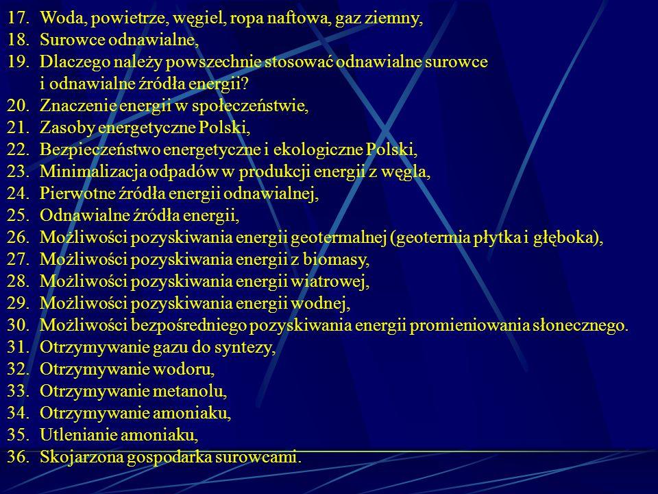 17.Woda, powietrze, węgiel, ropa naftowa, gaz ziemny, 18.Surowce odnawialne, 19.Dlaczego należy powszechnie stosować odnawialne surowce i odnawialne ź