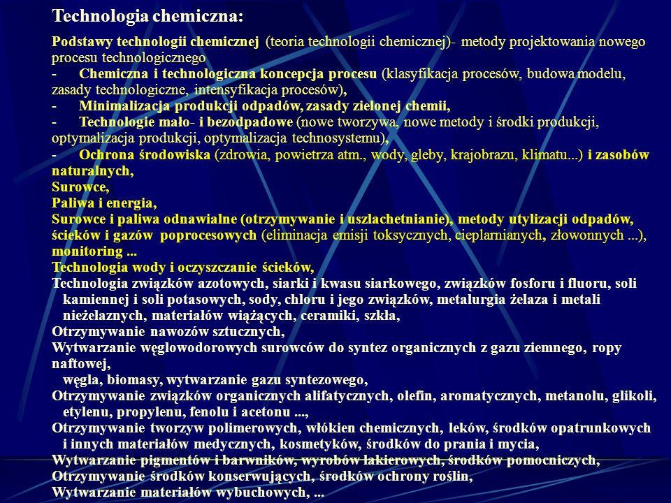 Technologia chemiczna: Podstawy technologii chemicznej (teoria technologii chemicznej)- metody projektowania nowego procesu technologicznego - Chemicz