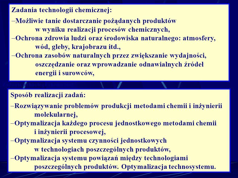Zadania technologii chemicznej: Możliwie tanie dostarczanie pożądanych produktów w wyniku realizacji procesów chemicznych, Ochrona zdrowia ludzi oraz