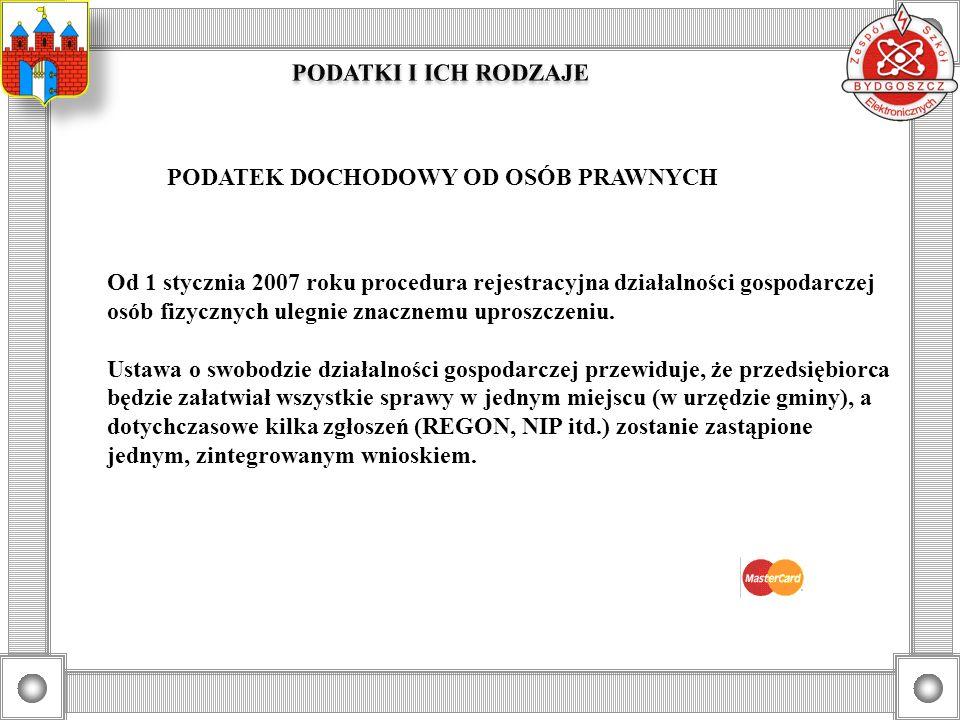 PODATEK DOCHODOWY OD OSÓB PRAWNYCH Od 1 stycznia 2007 roku procedura rejestracyjna działalności gospodarczej osób fizycznych ulegnie znacznemu uproszc