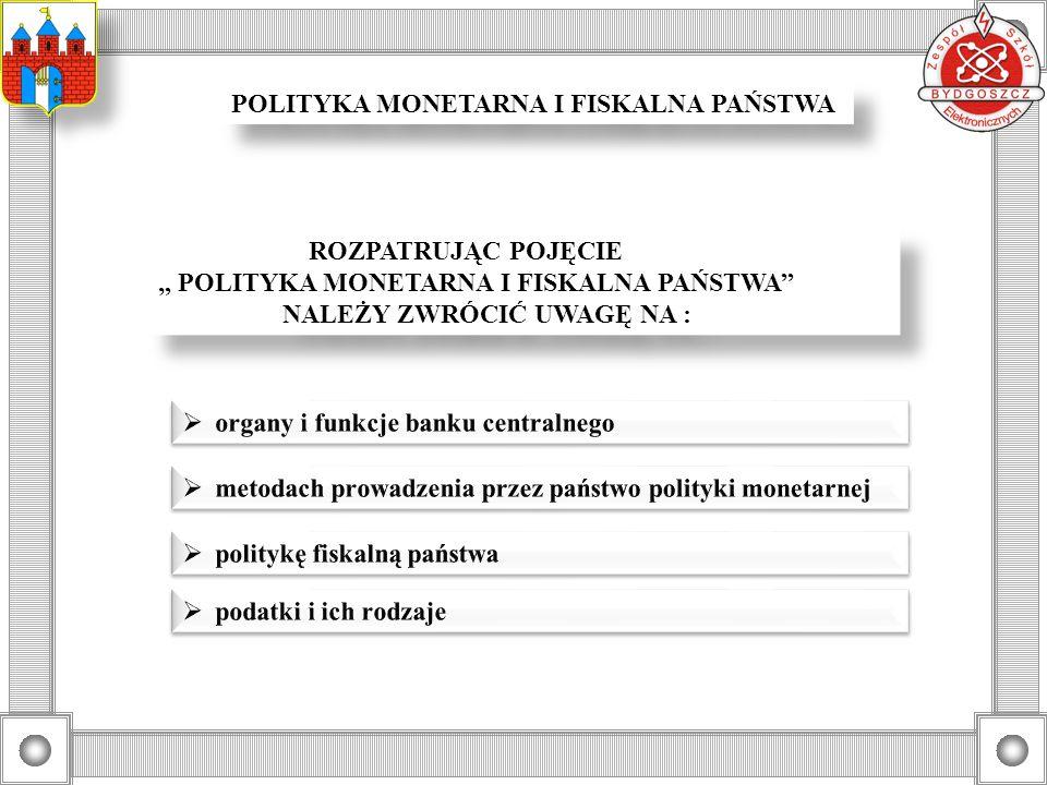 POLITYKA MONETARNA I FISKALNA PAŃSTWA ROZPATRUJĄC POJĘCIE POLITYKA MONETARNA I FISKALNA PAŃSTWA NALEŻY ZWRÓCIĆ UWAGĘ NA : ROZPATRUJĄC POJĘCIE POLITYKA