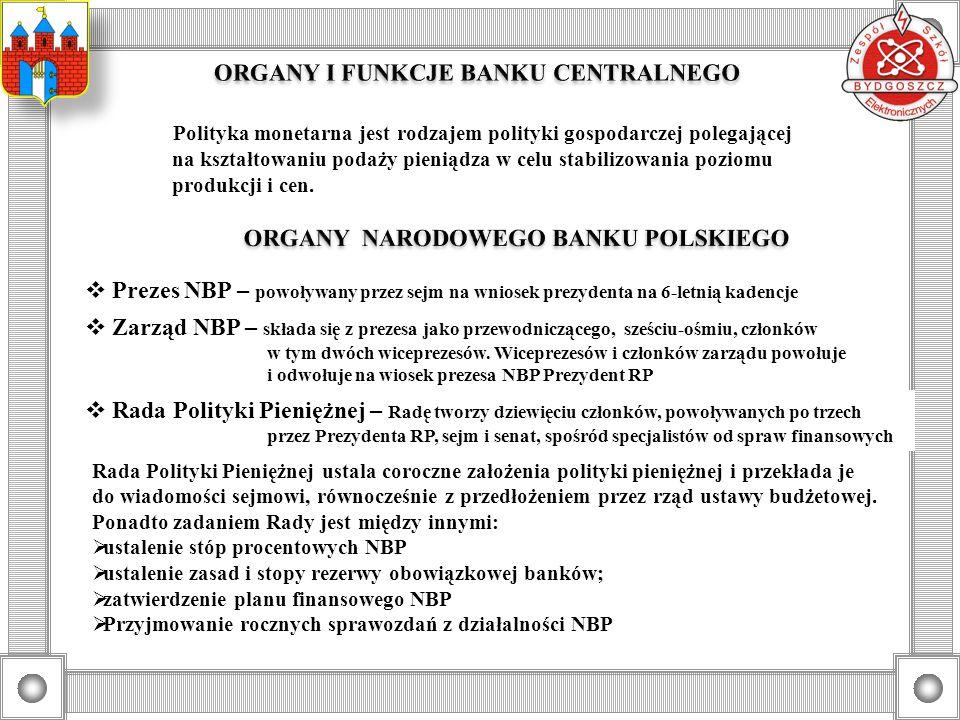 O wielkości podaży pieniądza decyduje Bank Centralny, a więc Narodowy Bank Polski.