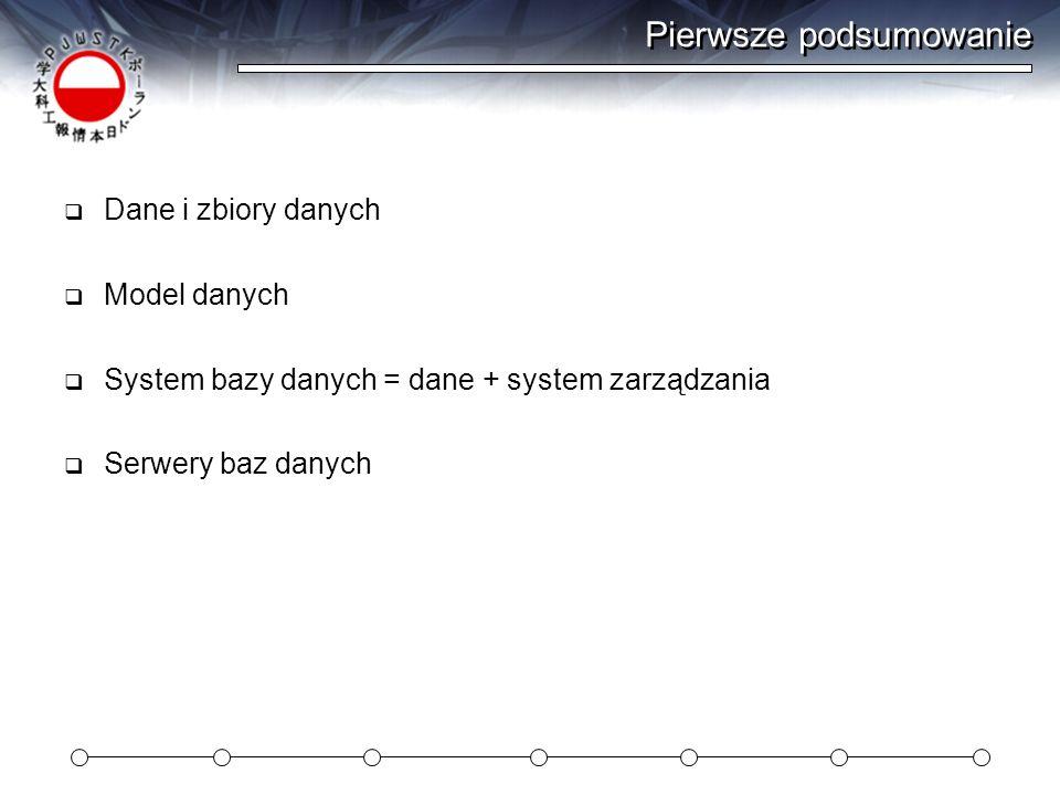 Pierwsze podsumowanie Dane i zbiory danych Model danych System bazy danych = dane + system zarządzania Serwery baz danych