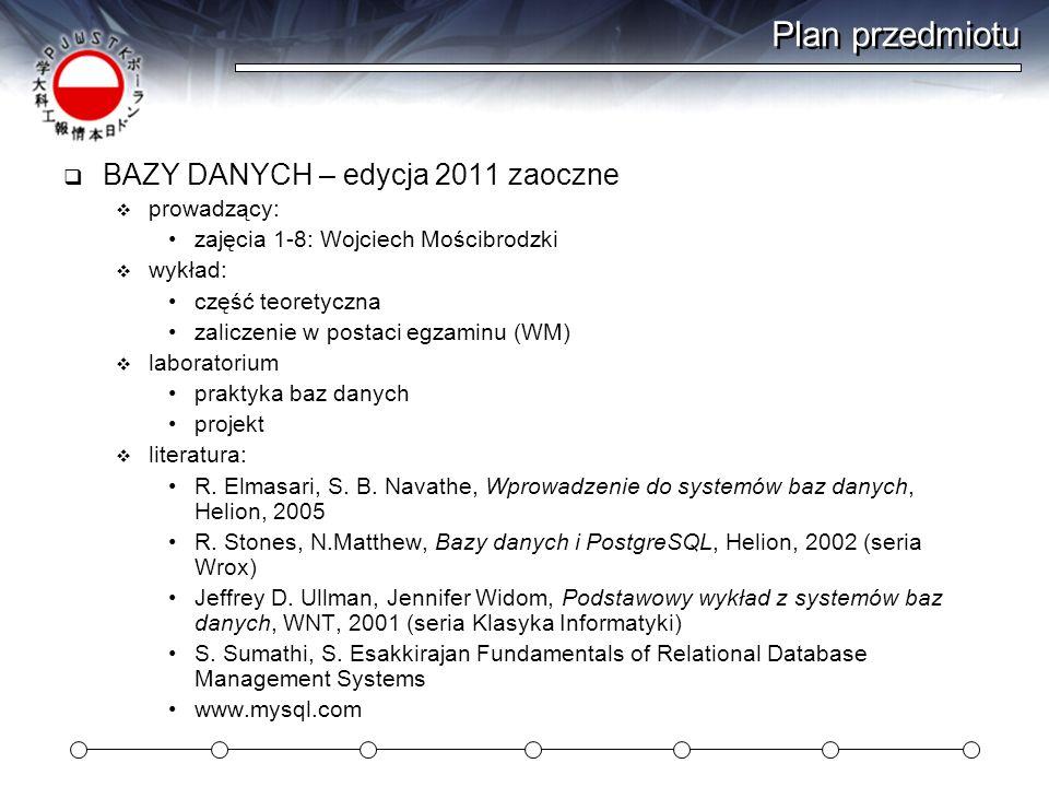 Plan przedmiotu BAZY DANYCH – edycja 2011 zaoczne prowadzący: zajęcia 1-8: Wojciech Mościbrodzki wykład: część teoretyczna zaliczenie w postaci egzami