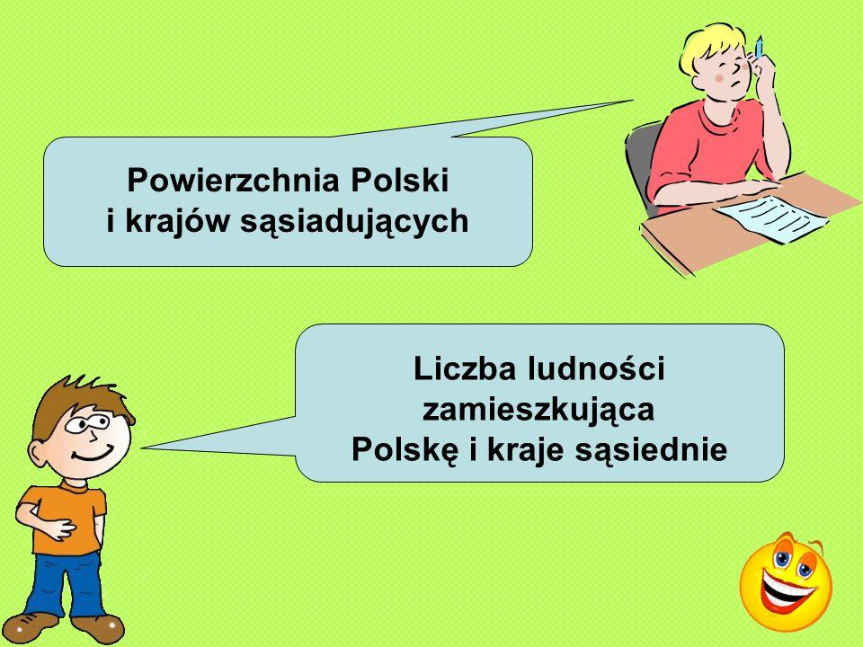 Powierzchnia Polski i krajów sąsiadujących Liczba ludności zamieszkująca Polskę i kraje sąsiednie