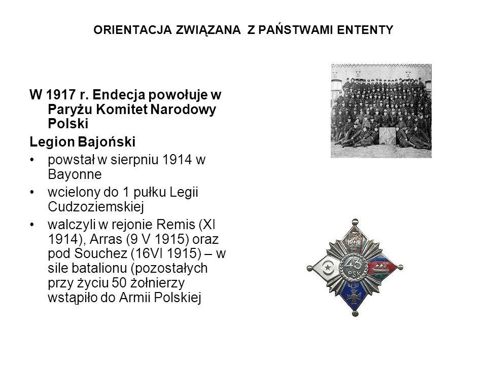 ORIENTACJA ZWIĄZANA Z PAŃSTWAMI ENTENTY W 1917 r. Endecja powołuje w Paryżu Komitet Narodowy Polski Legion Bajoński powstał w sierpniu 1914 w Bayonne