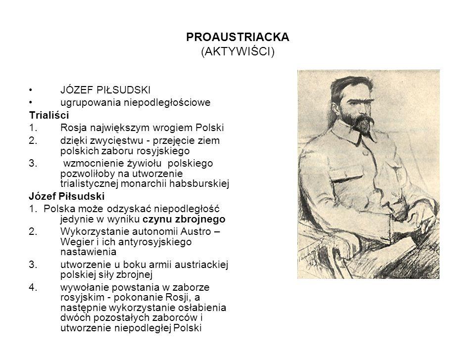PROAUSTRIACKA (AKTYWIŚCI) JÓZEF PIŁSUDSKI ugrupowania niepodległościowe Trialiści 1.Rosja największym wrogiem Polski 2.dzięki zwycięstwu - przejęcie z