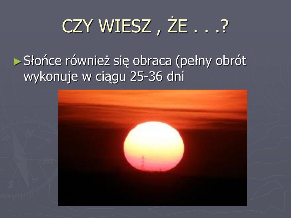 CZY WIESZ, ŻE...? Słońce również się obraca (pełny obrót wykonuje w ciągu 25-36 dni Słońce również się obraca (pełny obrót wykonuje w ciągu 25-36 dni