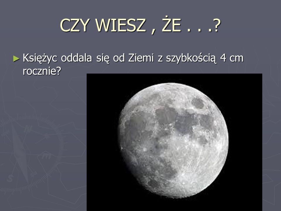 CZY WIESZ, ŻE...? Księżyc oddala się od Ziemi z szybkością 4 cm rocznie? Księżyc oddala się od Ziemi z szybkością 4 cm rocznie?