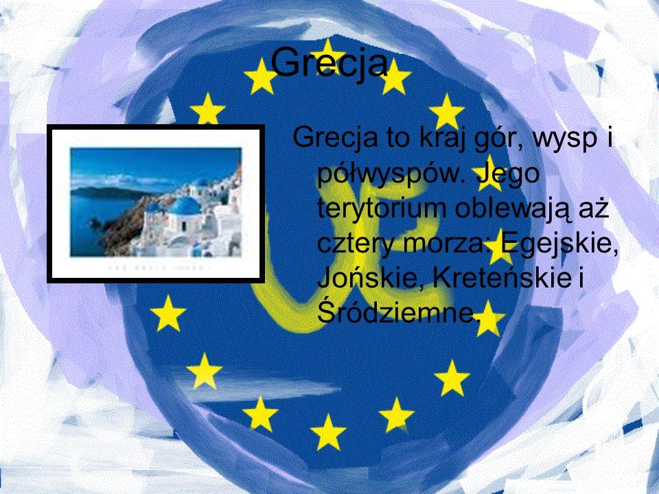 Grecja Grecja to kraj gór, wysp i półwyspów. Jego terytorium oblewają aż cztery morza: Egejskie, Jońskie, Kreteńskie i Śródziemne.