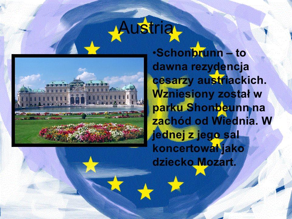 Austria Schonbrunn – to dawna rezydencja cesarzy austriackich. Wzniesiony został w parku Shonbeunn na zachód od Wiednia. W jednej z jego sal koncertow