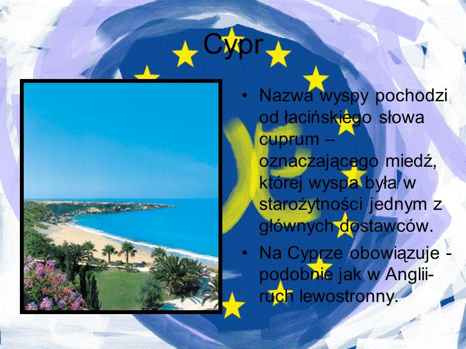 Cypr Nazwa wyspy pochodzi od łacińskiego słowa cuprum – oznaczającego miedź, której wyspa była w starożytności jednym z głównych dostawców. Na Cyprze