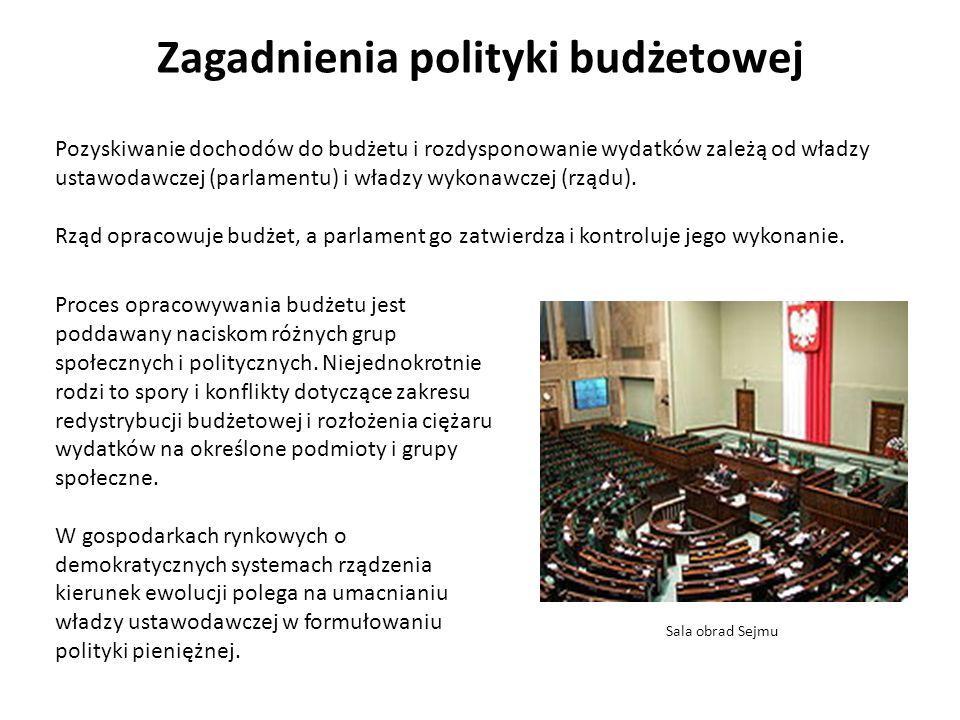 Zagadnienia polityki budżetowej Pozyskiwanie dochodów do budżetu i rozdysponowanie wydatków zależą od władzy ustawodawczej (parlamentu) i władzy wykonawczej (rządu).