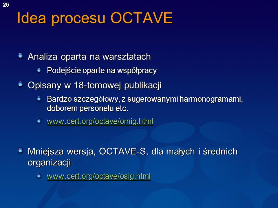27 Proces OCTAVE Progresywna seria warsztatów Etap 1 Widok organizacyjny Etap 2 Widok technologiczny Etap 3 Opracowanie strategii i planu Luki technologiczne Planowanie Zasoby Zagrożenia Aktualne praktyki Luki organizacyjne Wymogi dot.