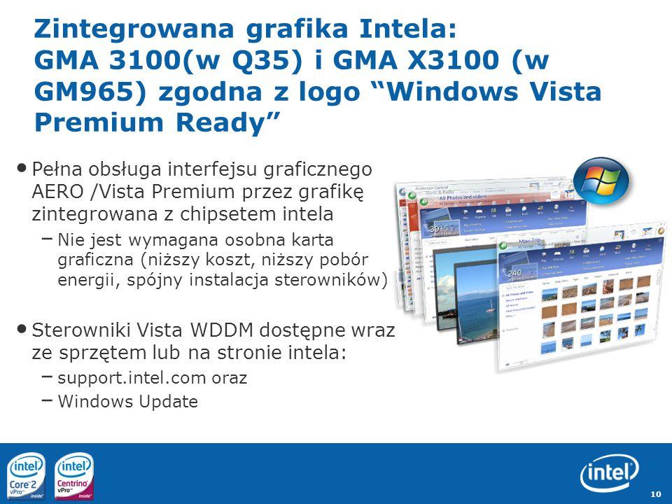 10 Zintegrowana grafika Intela: GMA 3100(w Q35) i GMA X3100 (w GM965) zgodna z logo Windows Vista Premium Ready Pełna obsługa interfejsu graficznego A