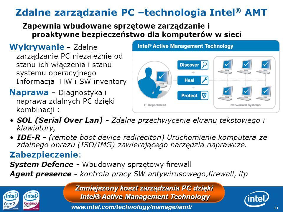 11 Zdalne zarządzanie PC –technologia Intel ® AMT Wykrywanie – Zdalne zarządzanie PC niezależnie od stanu ich włączenia i stanu systemu operacyjnego I