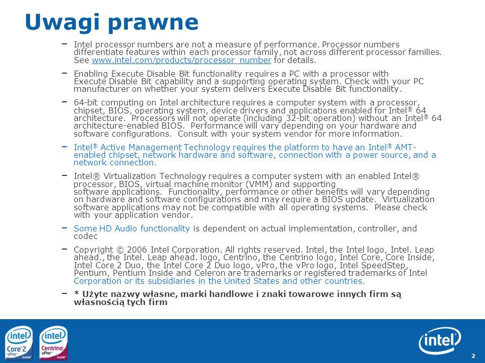 3 Najlepsze technologie firmy Intel dla desktopów i laptopów biznesowych Proaktywne bezpieczeństwo Wbudowane sprzętowe zarządzanie Wydajne i energooszczędne Szerokie wsparcie oprogramowania zarządzającego...