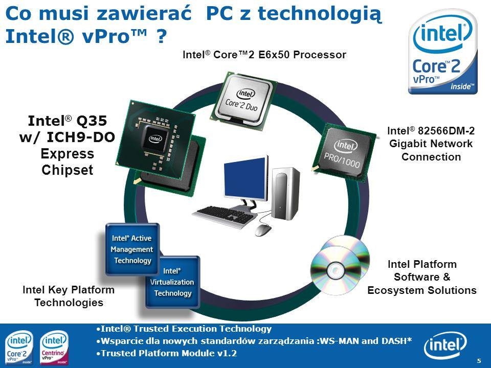 5 Co musi zawierać PC z technologią Intel® vPro ? Intel ® Core2 E6x50 Processor Intel ® Q35 w/ ICH9-DO Express Chipset Intel ® 82566DM-2 Gigabit Netwo