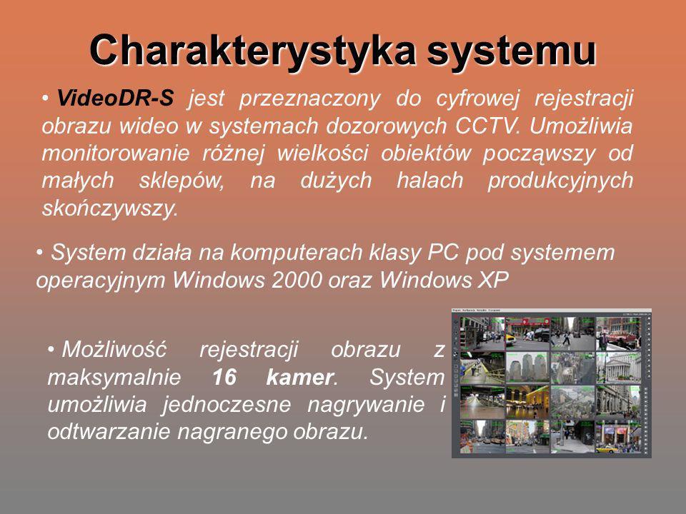 Charakterystyka systemu VideoDR-S jest przeznaczony do cyfrowej rejestracji obrazu wideo w systemach dozorowych CCTV. Umożliwia monitorowanie różnej w