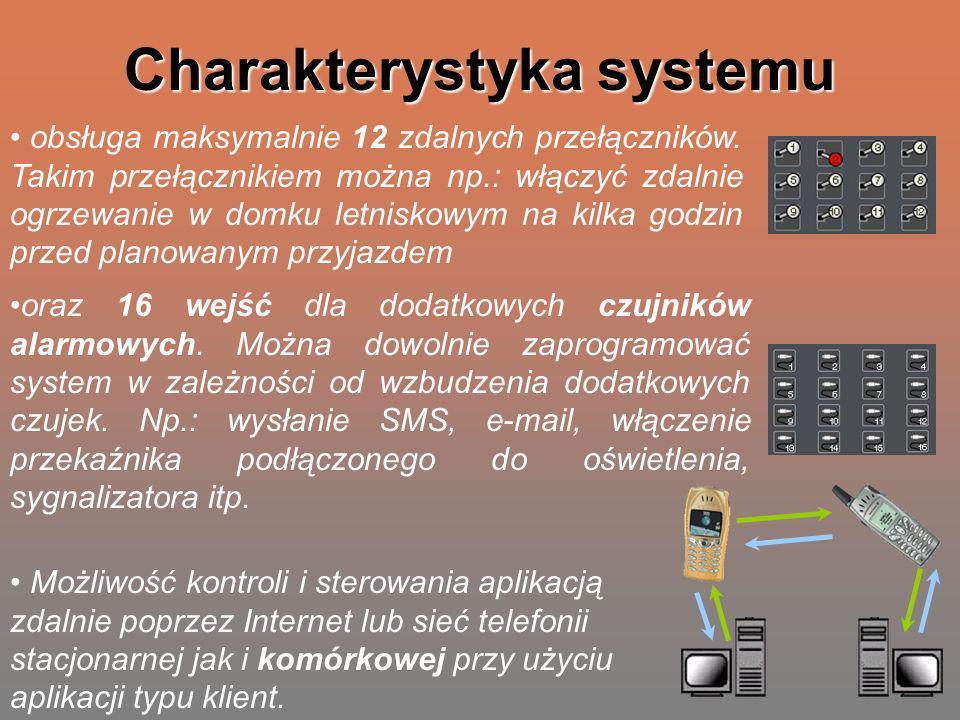 Charakterystyka systemu oraz 16 wejść dla dodatkowych czujników alarmowych. Można dowolnie zaprogramować system w zależności od wzbudzenia dodatkowych