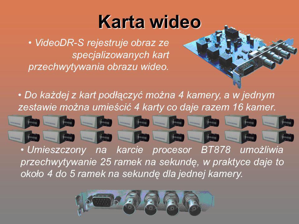 Karta wideo VideoDR-S rejestruje obraz ze specjalizowanych kart przechwytywania obrazu wideo. Do każdej z kart podłączyć można 4 kamery, a w jednym ze