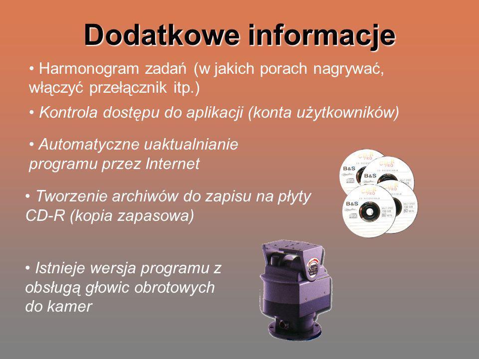 Dodatkowe informacje Harmonogram zadań (w jakich porach nagrywać, włączyć przełącznik itp.) Kontrola dostępu do aplikacji (konta użytkowników) Automat