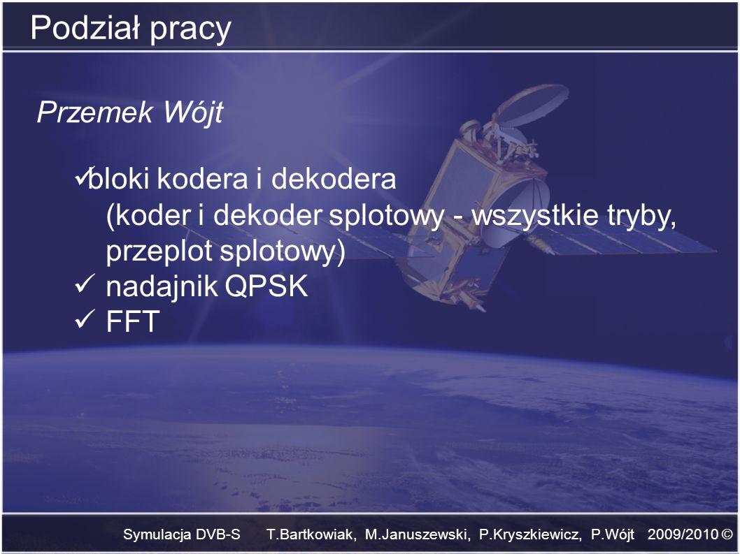 Symulacja DVB-S T.Bartkowiak, M.Januszewski, P.Kryszkiewicz, P.Wójt 2009/2010 © Podział pracy Przemek Wójt bloki kodera i dekodera (koder i dekoder sp