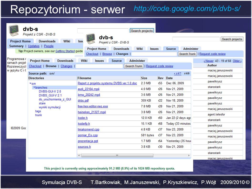 Repozytorium - serwer Symulacja DVB-S T.Bartkowiak, M.Januszewski, P.Kryszkiewicz, P.Wójt 2009/2010 © http://code.google.com/p/dvb-s/
