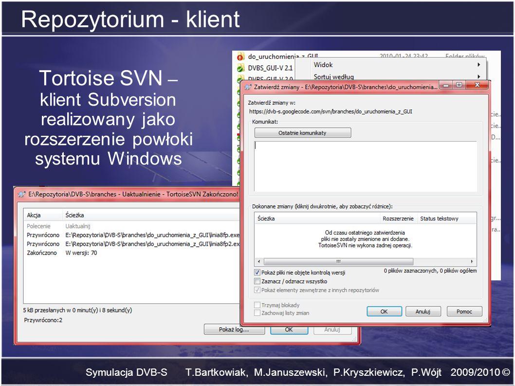 Symulacja DVB-S T.Bartkowiak, M.Januszewski, P.Kryszkiewicz, P.Wójt 2009/2010 © Repozytorium - klient Tortoise SVN – klient Subversion realizowany jak