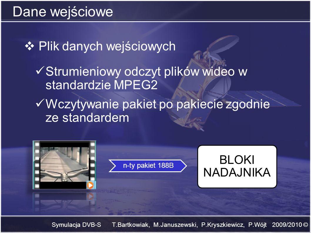 Dane wejściowe Symulacja DVB-S T.Bartkowiak, M.Januszewski, P.Kryszkiewicz, P.Wójt 2009/2010 © Plik danych wejściowych Strumieniowy odczyt plików wide
