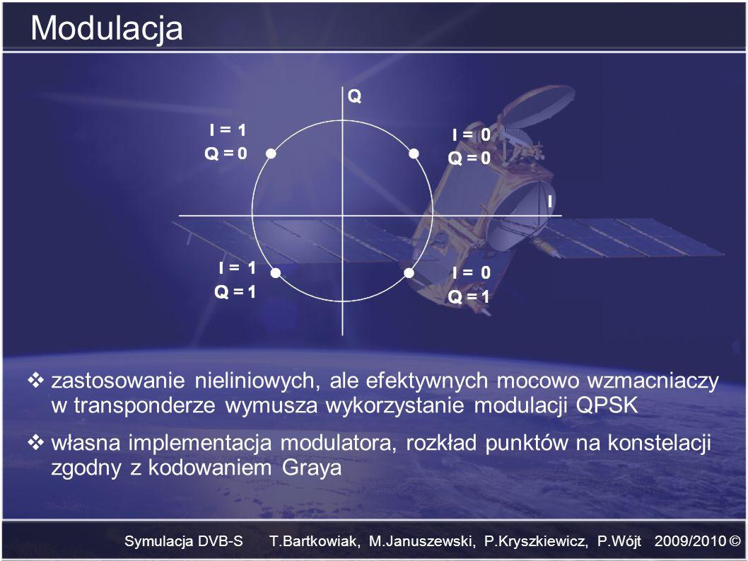 Symulacja DVB-S T.Bartkowiak, M.Januszewski, P.Kryszkiewicz, P.Wójt 2009/2010 © Modulacja zastosowanie nieliniowych, ale efektywnych mocowo wzmacniacz
