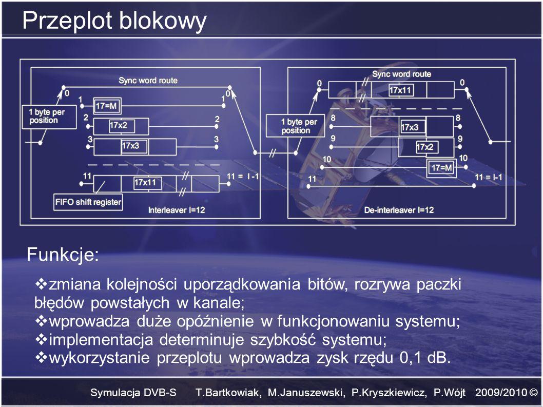 Symulacja DVB-S T.Bartkowiak, M.Januszewski, P.Kryszkiewicz, P.Wójt 2009/2010 © Przeplot blokowy zmiana kolejności uporządkowania bitów, rozrywa paczk